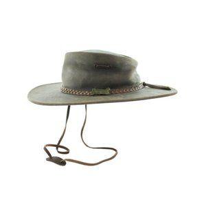 DRIZA BONE Leather Outback Hat Size Medium